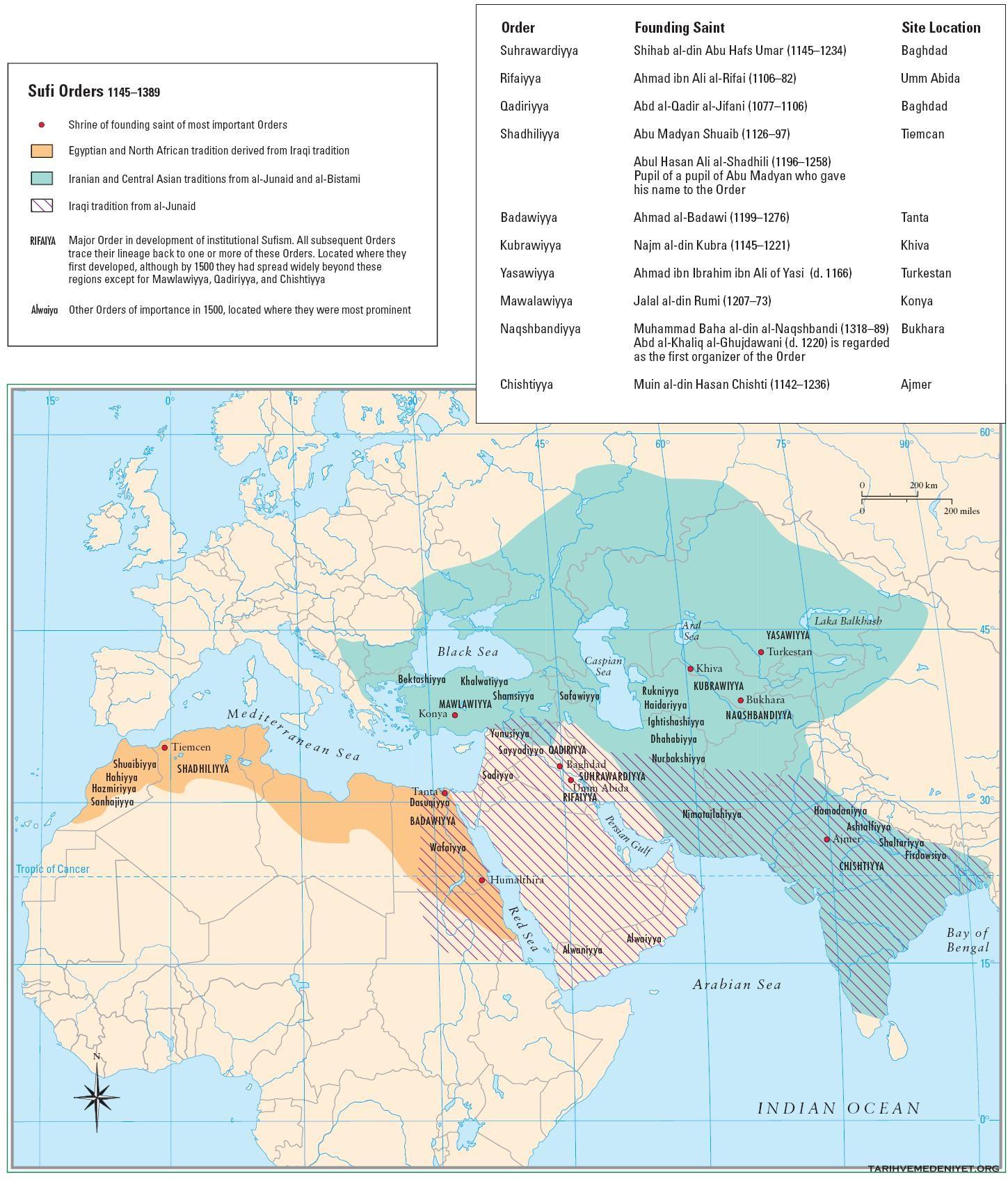 islam tarikatlar haritasi
