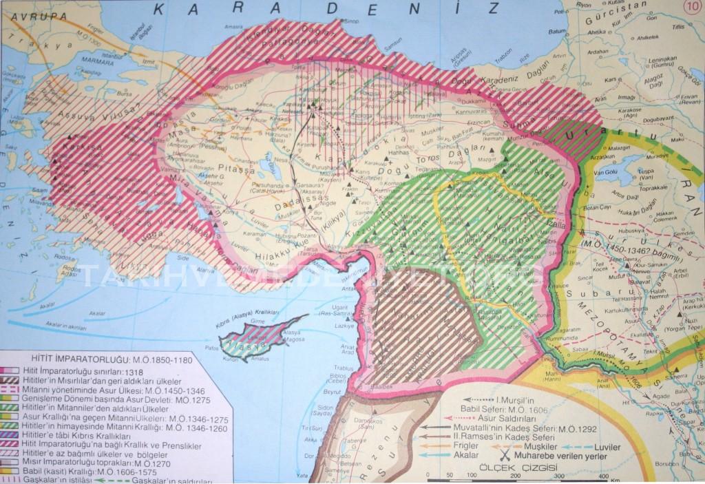 10 Harita Hitit imparatorlugu mo 1850-1180