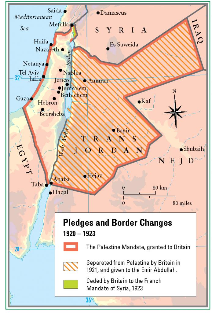 32- Filistin ve Urdunde sinir degismeleri 1920 - 1923