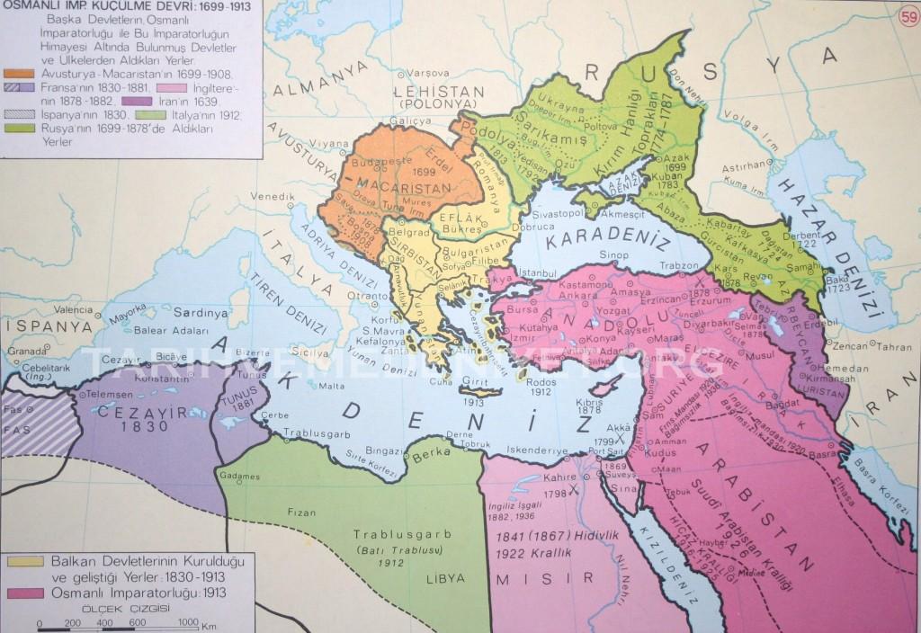 53Harita Osmanli imparatorlugunun kuculme devri 1699-1913.