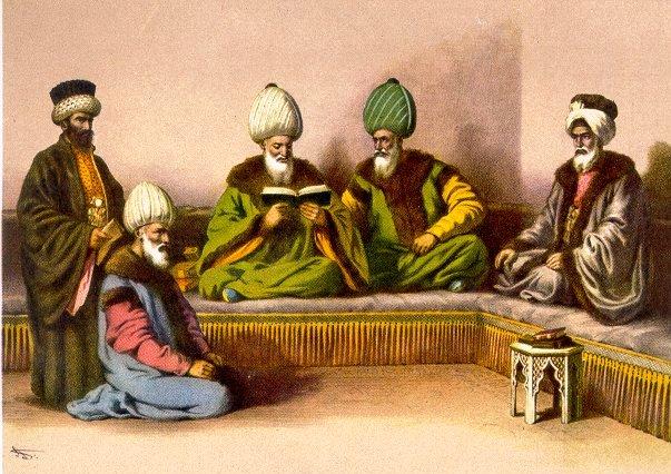 Resimde Elinde Kitap Tutan Rumeli KadıaskerininYanında Nakibü'l-Eşraf Tasvir Edilmektedir